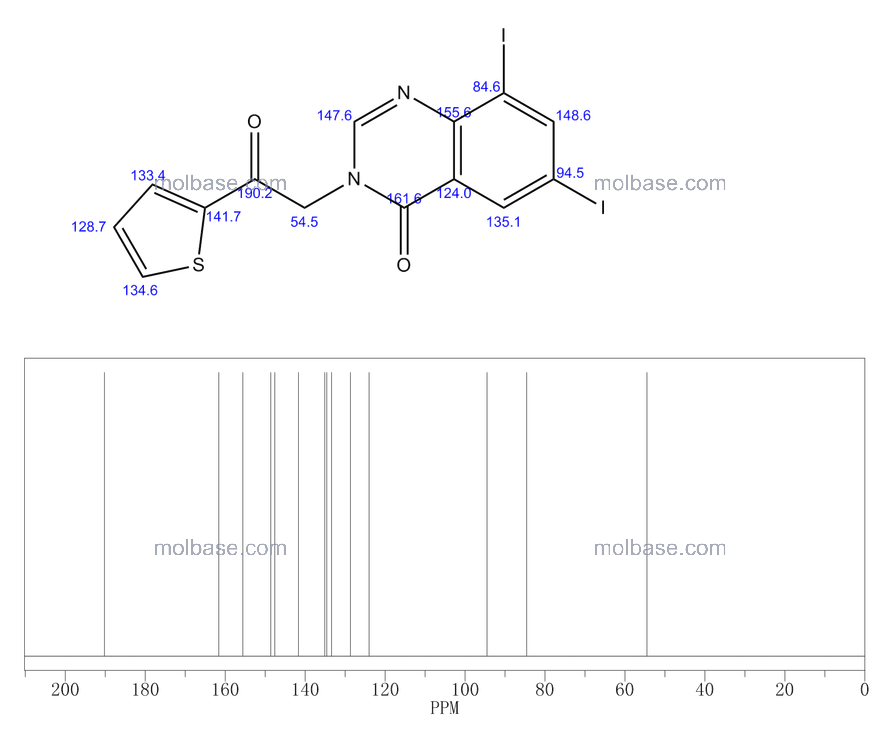 6,8-diiodo-3-(2-oxo-2-thiophen-2-ylethyl)quinazolin-4-one NMR spectra analysis, Chemical CAS NO. 669762-29-2 NMR spectral analysis, 6,8-diiodo-3-(2-oxo-2-thiophen-2-ylethyl)quinazolin-4-one C-NMR spectrum