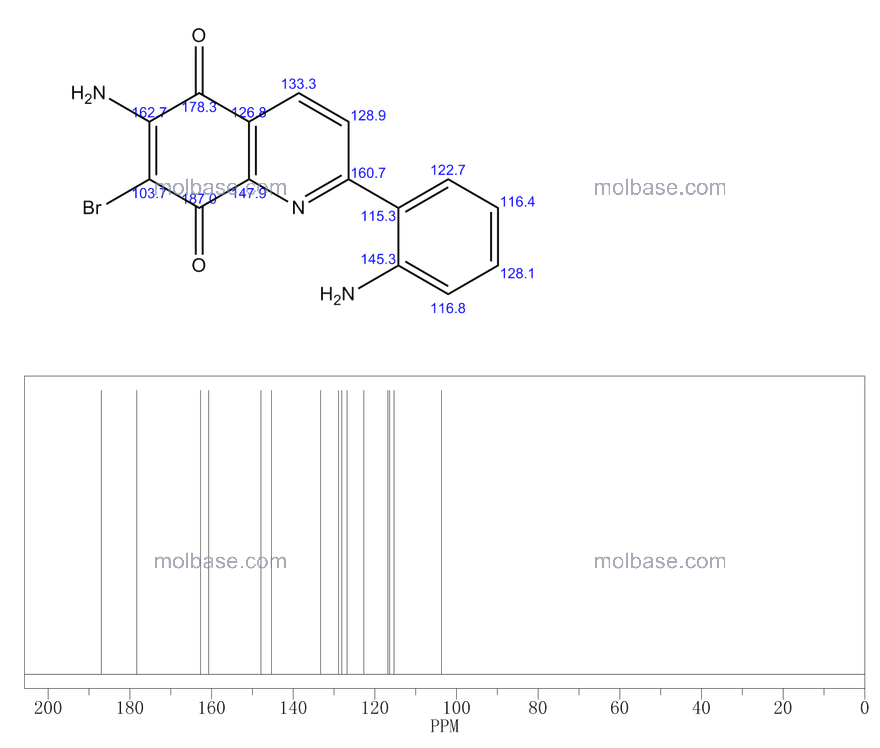 6-amino-2-(2-aminophenyl)-7-bromoquinoline-5,8-dione NMR spectra analysis, Chemical CAS NO. 61472-38-6 NMR spectral analysis, 6-amino-2-(2-aminophenyl)-7-bromoquinoline-5,8-dione C-NMR spectrum