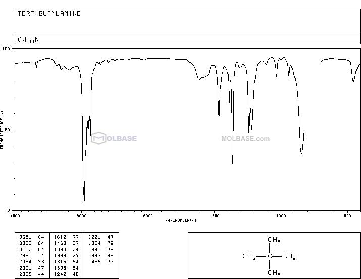 tert-butylamine NMR spectra analysis, Chemical CAS NO. 75-64-9 NMR spectral analysis, tert-butylamine C-NMR spectrum
