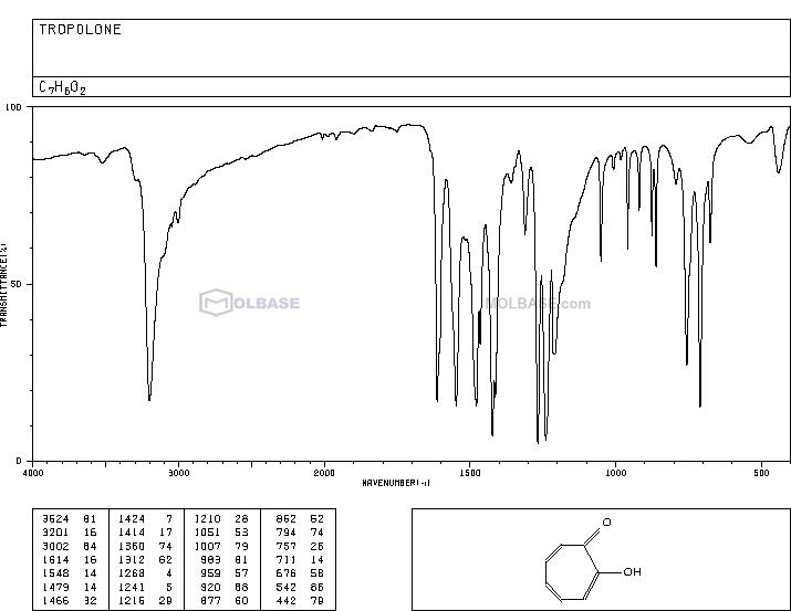 Tropolone NMR spectra analysis, Chemical CAS NO. 533-75-5 NMR spectral analysis, Tropolone C-NMR spectrum