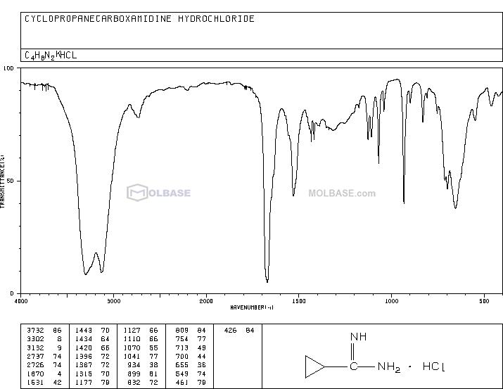 Cyclopropanecarboxamidine Hydrochloride NMR spectra analysis, Chemical CAS NO. 57297-29-7 NMR spectral analysis, Cyclopropanecarboxamidine Hydrochloride C-NMR spectrum